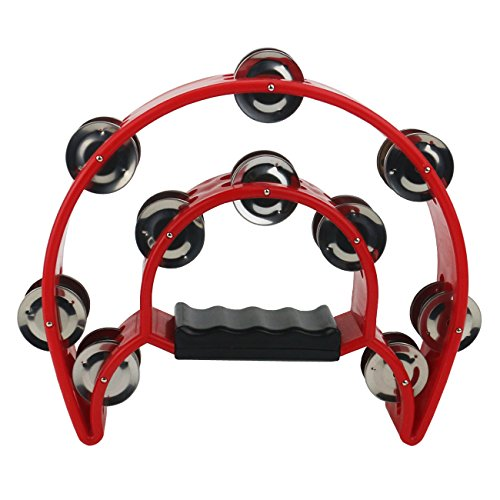 Ogrmar Double Row Handled Tambourine Metal Jingles Hand Held Percussion Drum with Ergonomic Handle Grip for Gift KTV/Party/Kids Toy (Red) ()