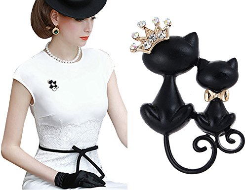 Pink Universe Crown Cat Brooch Pin Double Kittens Cat Brooches Accessories for Women (Double Brooch Pin)