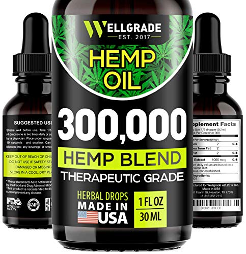 Hemp Oil Capsules – 1000 MG of Pure Hemp Extract – Pain, Stress & Anxiety Relief – Natural Sleep & Mood Support – Made…