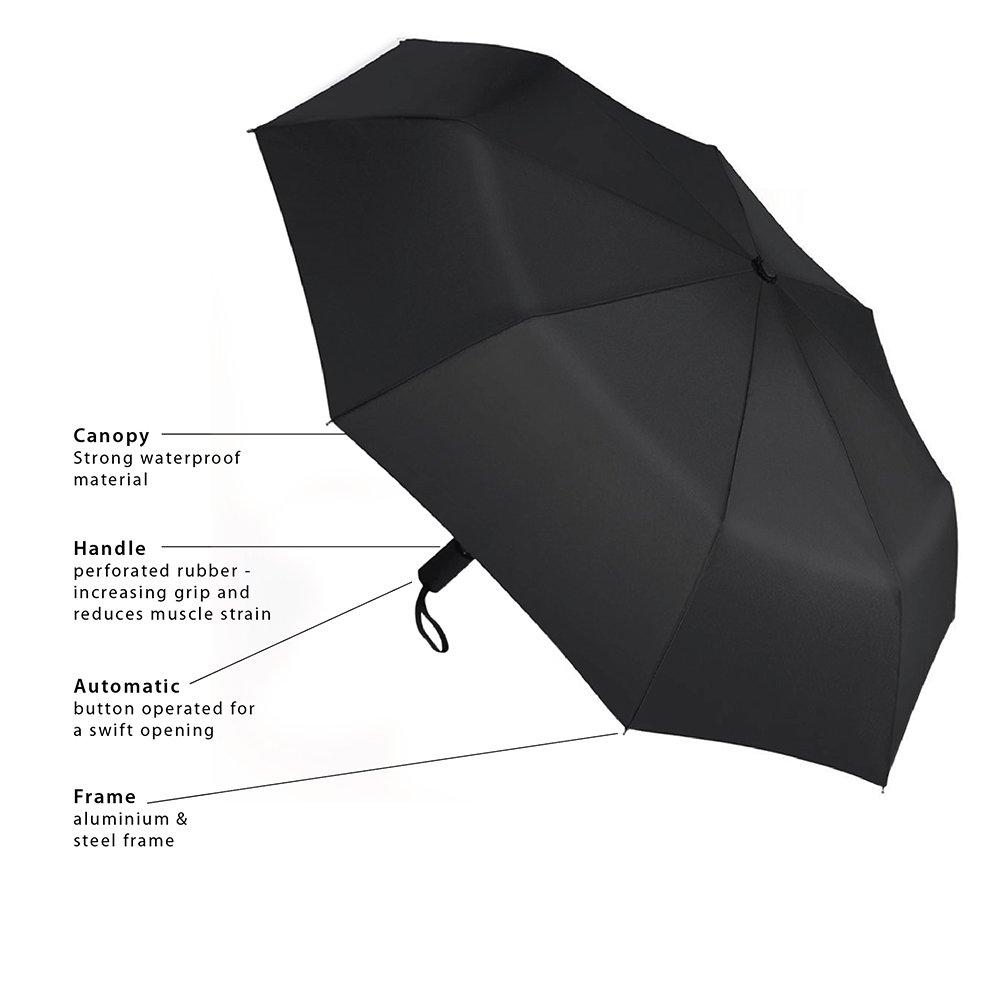 Monchoix Premium - Paraguas - Paraguas de Viaje Ligero paraguas - paraguas de golf - Impermeable y a prueba de viento - Negro Auto Abrir y cerrar - Solid ...