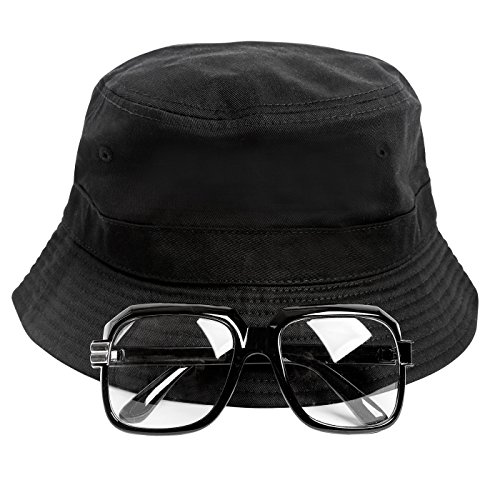 80s/90s Hip-Hop Costume Kit (Bucket Hat + Old School Squared Glasses) (Hat Old School)