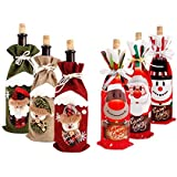 6 قطع من ديكورات الكريسماس للمنزل سانتا كلوز كغطاء زجاجة للنبيذ من Snowman Stocking Gift Holders