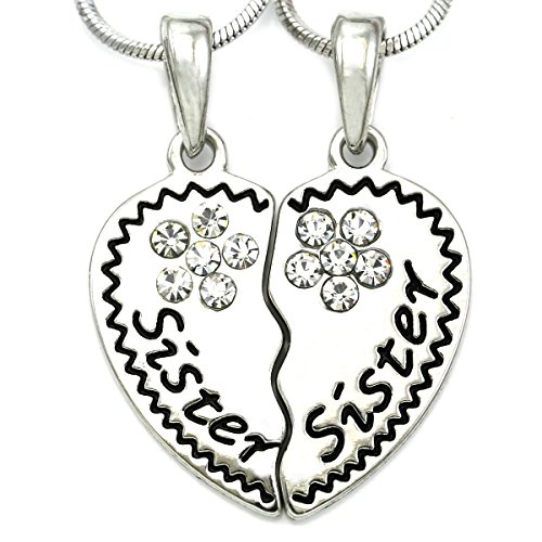 Soulbreezecollection Sister & Sister Best Friends Forever Heart Necklace Pendant Engraved Letters Jewelry (Clear)