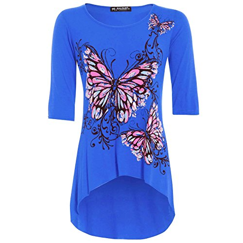 Oops Outlet Women's Butterfly Print 3/4 Sleeve Dip Hem High Low Tunic Top Plus Size (US 16/18) Royal Blue