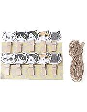 dedepeng Pinzas para la ropa, bonitas gatos, decoración de madera, clips para fotos, pinzas decorativas para la ropa, con cuerda, artesanía, madera, postal, pinzas, 10 unidades