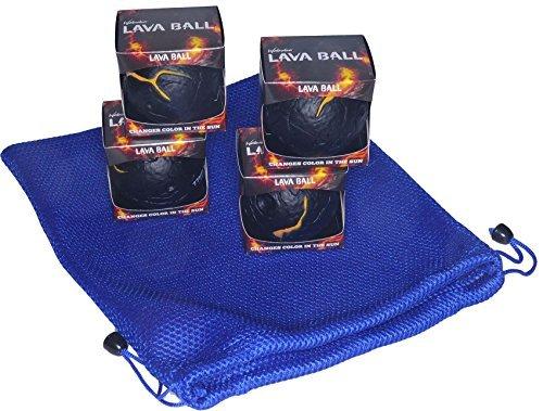 Waboba LAVA BALL _ Set of 4 Identical Balls_ Bonus Royal Blue Nylon Mesh Drawstring Carry Bag _ Bundled Items by Deluxe Games and Puzzles (Image #2)