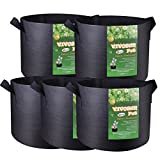 VIVOSUN 5-Pack 10 Gallon Plant Grow Bags, Premium Series Thichkened Non-woven Aeration Fabric Pots w/Handles – Reinforced Weight Capacity & Extremely Durable (Black) For Sale