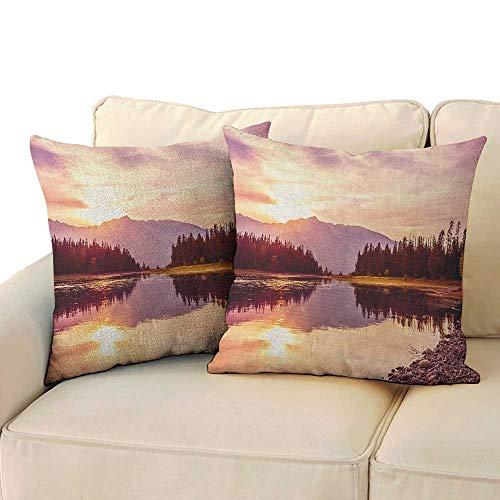 RenteriaDecor Landscape,Custom Pillow Cases Grand Teton Mountain Range at Sunset Jackson Lake Calm National Park USA 24