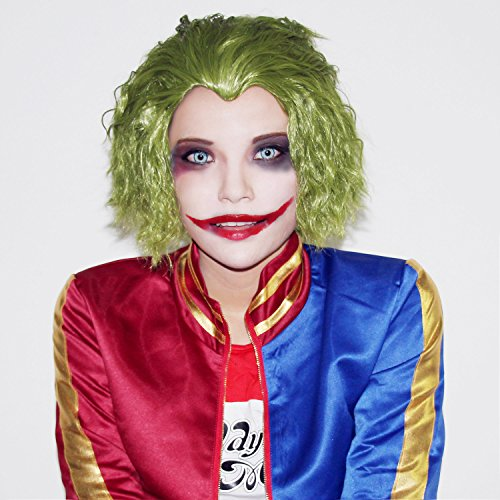 Harley Quinn Hairstyle (Hot Movie Costume Wig Cosplay Short Grass Green Fluffy Curly Wig Hair)