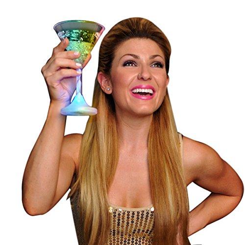 Light Up Martini Glasses with Color Changing LED Light & Long Spiral Stem (Set of 6) ()