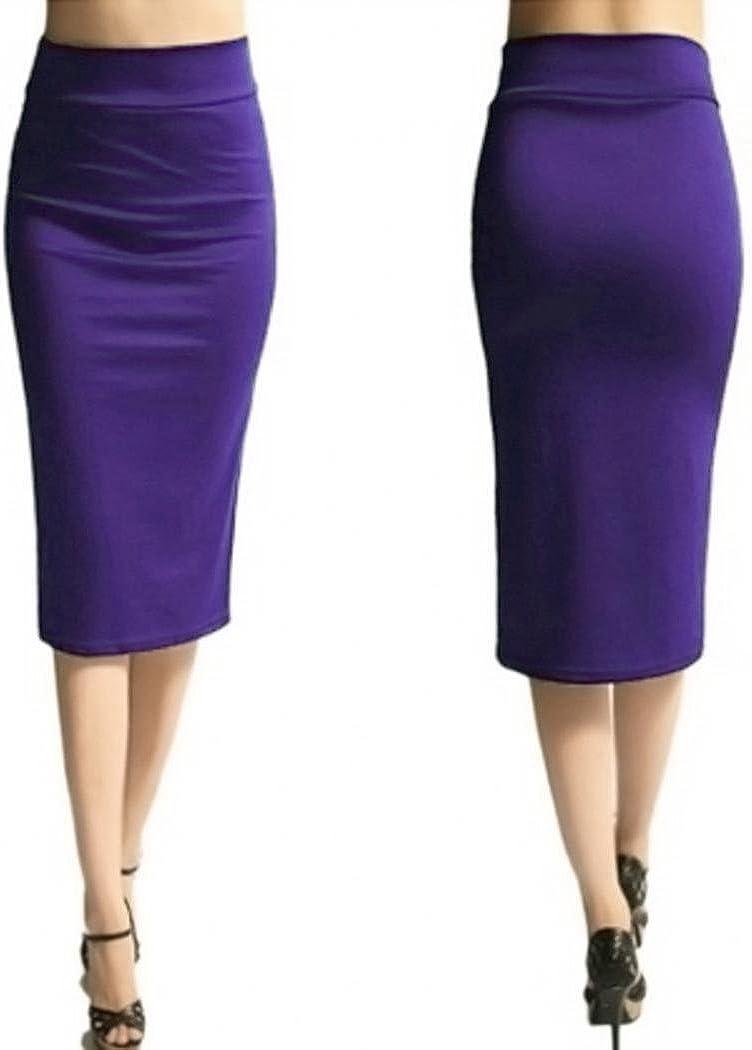 Women High Waist Pencil Skirt Solid Skinny Skinny Slim Knee-Length Skirt