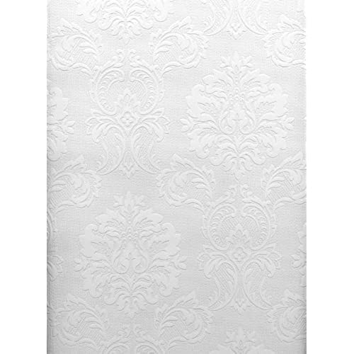 Brewster 429 6705 Paintable Solutions III Damask Paintable Wallpaper,  20.5 Inch By 396 Inch, White