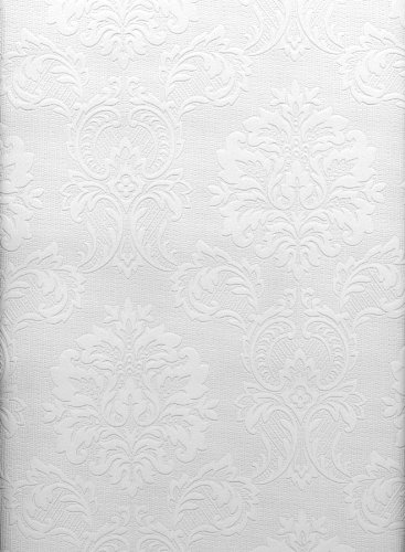 (Brewster 429-6705 Paintable Solutions III Damask Paintable Wallpaper, 20.5-Inch by 396-Inch, White)