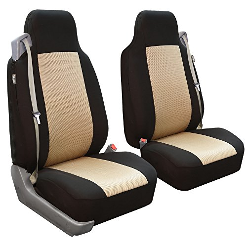 - FH Group FB302BEIGE102 Beige Classic Cloth Built-in Seatbelt Compatible High Back Seat Cover, Set of 2