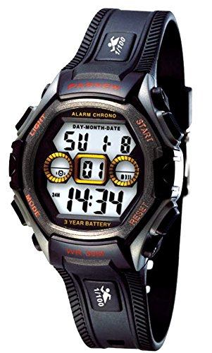 - New Brand Mall Kids Outdoor Sport LCD Digital Electrical Luminescent Waterproof Boys/Girls Wrist Watch with Stopwatch and Silicone Band Sports Watch Gift for 5-12 Years Old (Black and Red)