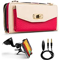 Venice Womens Wallet Clutch + Strap For Samsung Galaxy S5 / S5 LTE-A / S5 Active / S5 Sport / S5 mini + Auxiliary Cable + Windshield Car Mount