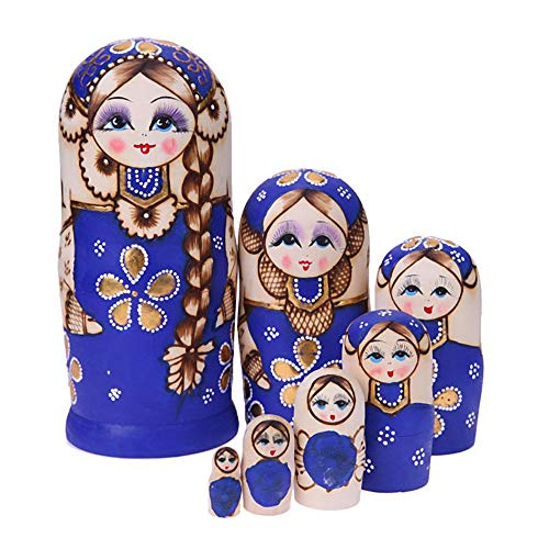 QTFHR Wood Stacking Nested Set 7 pcs Cute Green/ Blue Sweater Girl Russian Nesting Dolls Matryoshka Toys Decoration Wishing Gift (Blue)