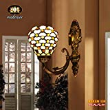 Makenier On-sale Tiffany Style Stained Glass Beaded Vintage Small Wall Sconce - 8 Inches Lampshade