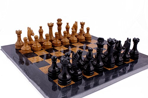 Black Marble Chess Set - RADICALn 16 Inches Handmade Black and Golden Original Hand Crafted Marble Full Chess Game Set
