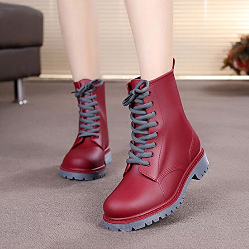 CHNHIRA Women's Rain Boots Rubber Riding Boots Casual Shoes High-Top Sports Shoes Lace up Ankle Boots Red DaQMe