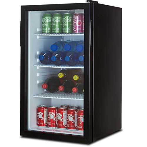 Della Beverage Refrigerator Cooler Compact Mini Bar Fridge Beer Soda Pop Reversible Glass Door, Black