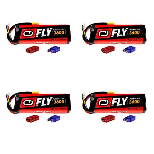 Venom Fly 30C 4S 3600mAh 14.8V LiPo Battery with UNI 2.0 Plug (XT60/Deans/EC3) x4 Packs Compare to E-flite EFLB33004S50