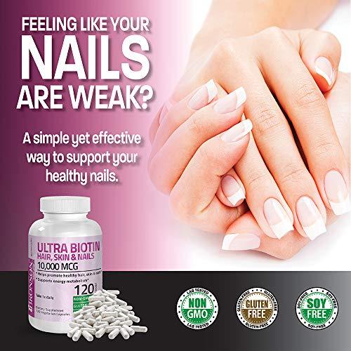 Ultra Biotin 10,000 Mcg Hair Skin and Nails Supplement, Non-GMO, Gluten Free, Soy Free, 120 Vegetarian Capsules