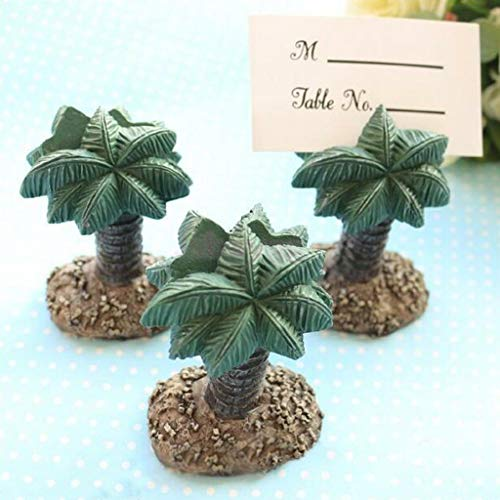 BROSCO Hawaii Beach Palm Tree Elephant Name Place Card Holder Wedding Party Table Gifts | Design - Palm Tree