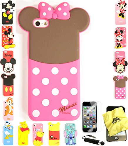 Bukit Cell ® 3D Cartoon Case Bundle - 4 items: MINNIE TAIL Cute Silicone Case Cover for iPhone SE 5S 5 5G + BUKIT CELL Trademark Cloth + Screen Protector + METALLIC Stylus Touch Pen