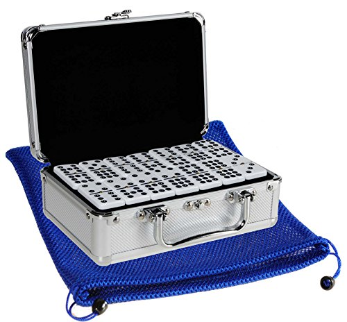 (Dominoes Double 9, Two-Tone with BLACK Dots, Jumbo Size, Center Spinners, in Aluminum Case _ Bonus Soft Nylon Mesh 9 x 12