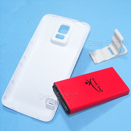 3 Accessory Bundle 8900mAh Extended Battery White Door Cover Folding Bracket for Samsung Galaxy S5 SM-G900A i9600 Phone