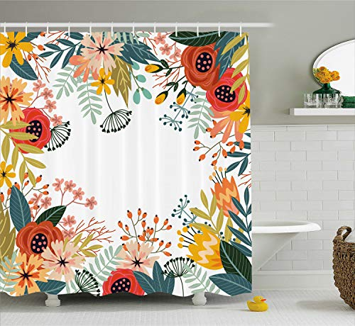 Ambesonne Floral Shower Curtain by, Vintage Exotic Summer Flowers Botanical Natural Framework Colorful Art Illustration, Fabric Bathroom Decor Set with Hooks, 70 Inches, Multicolor (Curtains Shower Exotic)