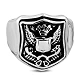 Stainless Steel 2 Color Coat of Arms Biker Ring