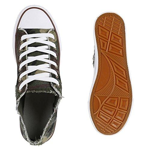 Grün Übergrößen Low Sneaker Unisex Flandell Camouflage Herren Damen Stiefelparadies 7gq8w