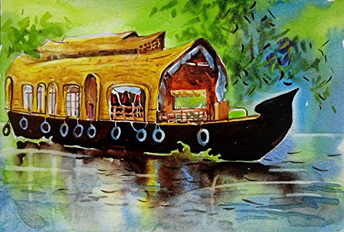 02c724fcc Kerala House Boat Art 8 (Watercolor Painting by Sumit Datta): Sumit ...