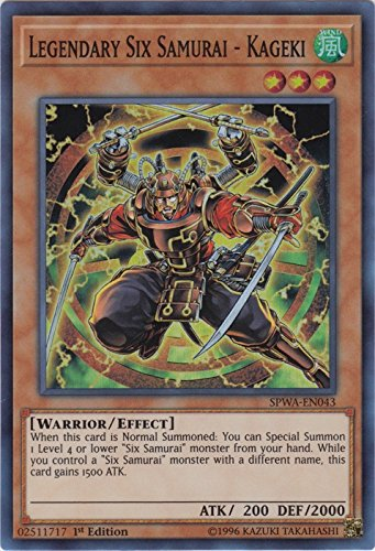Legendary Six Samurai - Kageki - SPWA-EN043 - Super Rare - 1st Edition - Spirit Warriors (1st Edition)