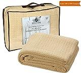 HILLFAIR 100% Soft Premium Combed Cotton Thermal Blanket– Queen Blanket– Soft Cozy Warm