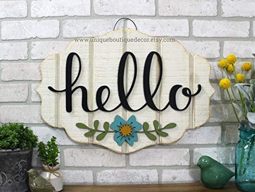 bawansign Hello Sign Hello Door Hanger Front Door