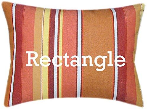 TPO Design, Sunbrella Dolce Mango Indoor Outdoor Striped Pillow 12×18 Rectangle