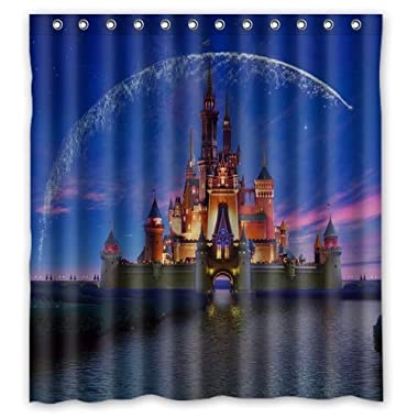 Disney Castle Design Christmas Gift Design of Waterproof Bathroom Fabric Shower Curtain with 12hooks 66 x72