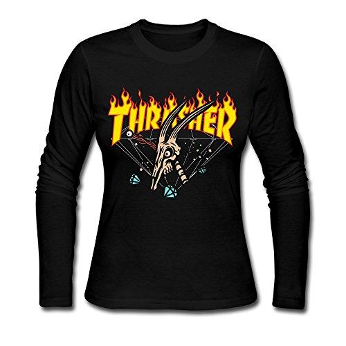 Liying Women's Thrasher Flame Magazine Logo Long Sleeve T Shirt Black S -