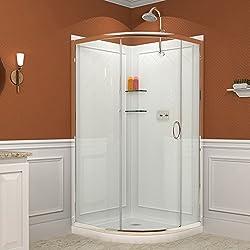 "DreamLine Solo 31 3/8"" by 31 3/8"" Frameless Sliding Shower Enclosure, Base and QWALL-4 Shower Backwall Kit, DL-6155-01CL"