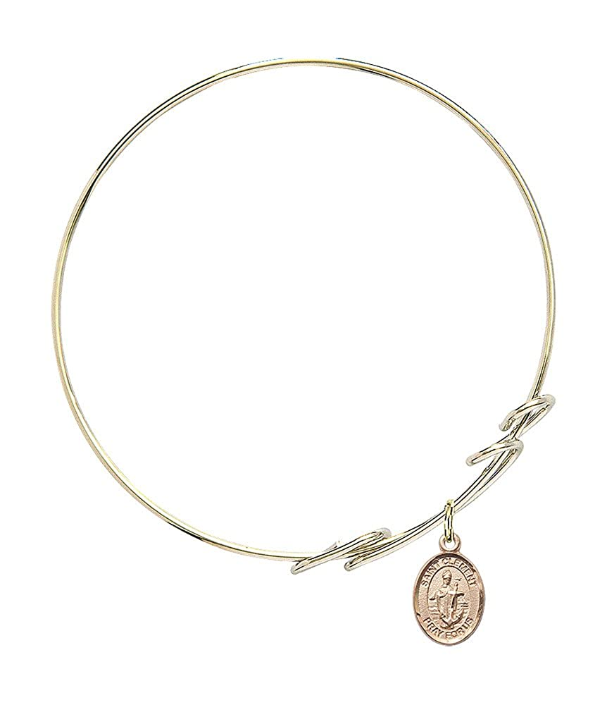 St Clement Charm On A 8 Inch Round Double Loop Bangle Bracelet