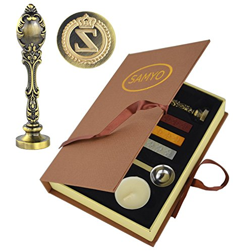 (Samyo Creative Romantic Stamp Maker Classic Old-Fashioned Style Brass Color Wax Seal Sealing Stamp Vintage Antique Alphabet Initial Letter Set - (Letter Z))