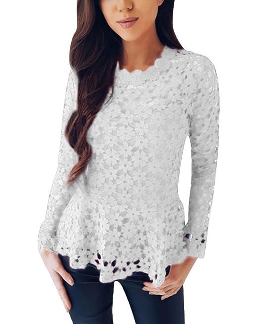 ORANDESIGNE Moda Camisa de Manga Larga para Mujer Blusa de Encaje Casual Algodón Suelto Tops Camiseta