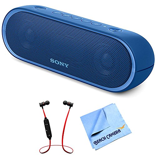 Sony XB20 Portable Wireless Speaker with Bluetooth Blue 2017 model (SRSXB20/BLUE) with Xtreme Fusion Bluetooth Headphones Black/Red & 1 Piece...