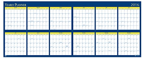 "House of Doolittle 2016 Laminated Wipe Off Wall Calendar, 60"" x 26"", (HOD3974-16)"