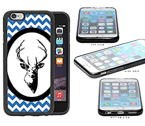 Blue & White Chevron Pattern with Deer Antler in White Center Oval Circle iPhone 6 (4.7) INCH SCREEN Rubber Silicone TPU Cell Phone Case