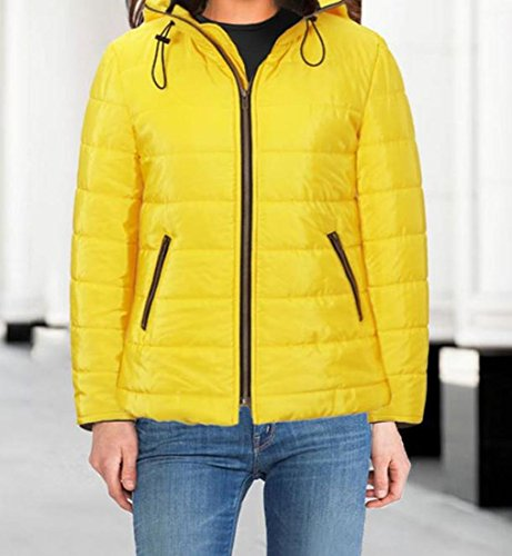 Zipper Neck High Down S Solid Coats Jacket Women's Quilted EKU Yellow xAqTZIWw