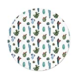 Polyester Round Tablecloth,Cactus Decor,Watercolor Cactus Plant Image Desert Hot Mexican Souh Nature Floral Print,Blue Green,Dining Room Kitchen Picnic Table Cloth Cover Outdoor Indoor